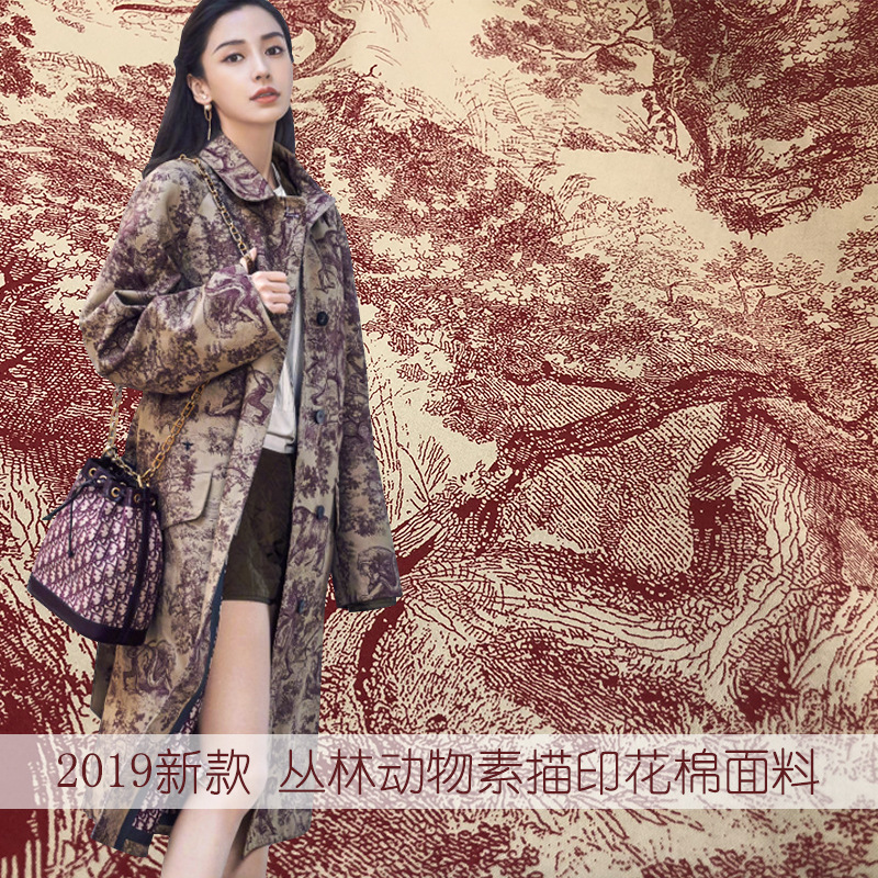 2019 new red and blue color jungle animal sketch pattern printed cotton jacket pants fabric handmade