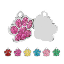 Wholesale 100 Pcs Paw Dog Id Tag nameplate Engraved Name Custom Personalized cat Dog Tags nametag Dog Collar Pet ID Tag Pet Shop