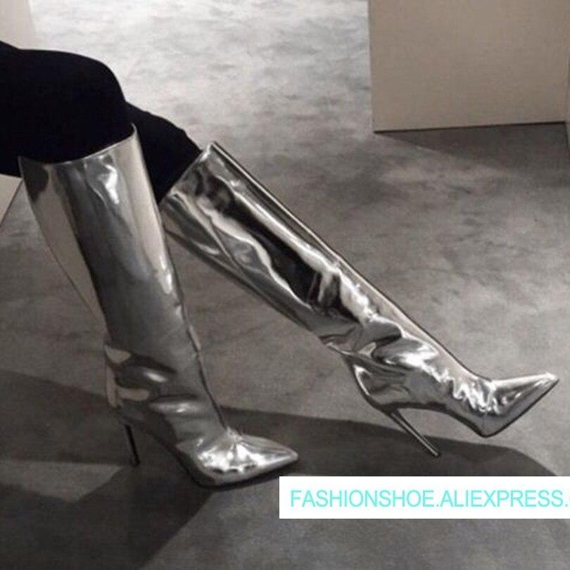 8275d5d9adbe76 Conception Chaussures Cuir Pics 2018 Cuissardes Chaude Stade Grande Talons  Pics D'hiver Taille Bottes Sexy Pour Femmes ...