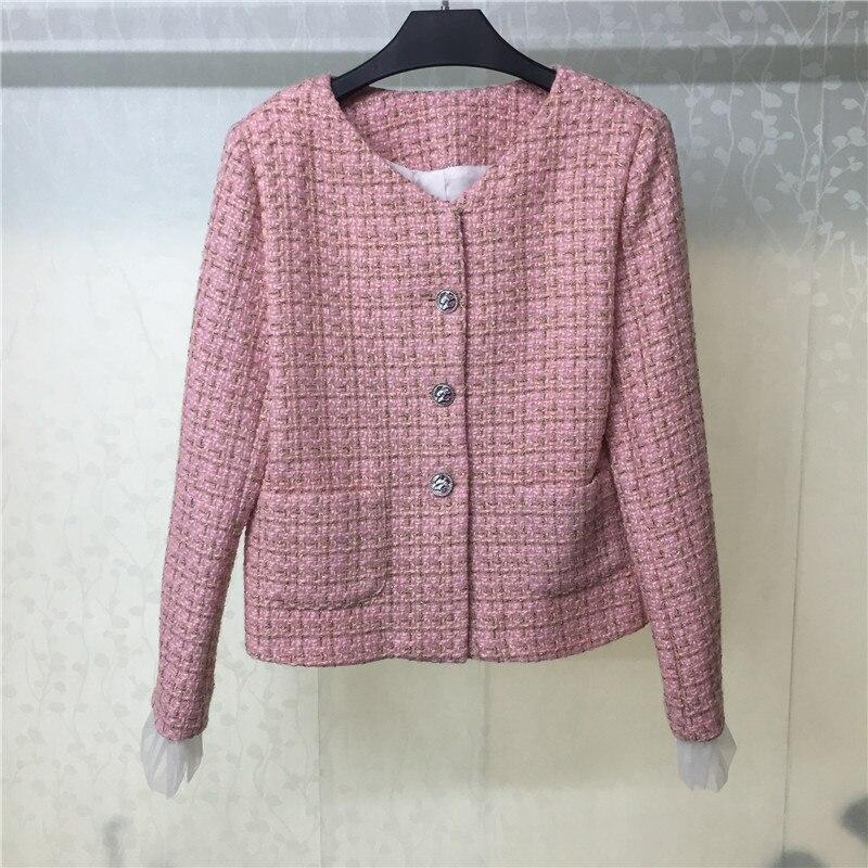 Ankünfte Outwear line Für Mode Mantel 2019 A Solide Frauen Blends Einreiher Qualität Neue Kaschmir Pink Hohe Rosa qgvqp