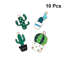 10pcs Creative Stylish Fashion Cute Cactus Pendants Plant Shaped Charms Plants Pendants for Bracelet Key Bags Purse(China)
