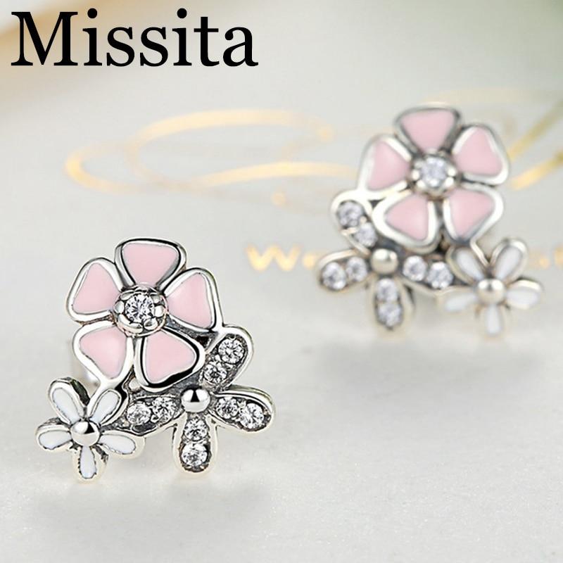 Cuteeco Silver Earrings Pan Daisy Drop Earring Pink Enamel With Clear CZ Zircon For Women Engagement Jewelry Gifts in Drop Earrings from Jewelry Accessories