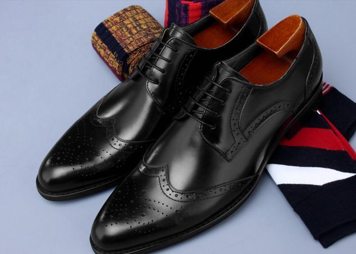 Farbe Bräutigam Casual Smart Derby Schuhe Männer Black Leder Brogues royal Kleid Up Lace Geschnitzt Hochzeit Echtes Blue Spitzen Zehen Mix qOz7xnx