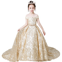 Gold Pageant Party Dress for Girls Christmas Dress Luxury Long Kids Evening Ball Gowns Lace 2019 Flower Girl Dresses with Train children pageant evening ball gowns girls party dress kids elegant glitz red yellow blue emerald green flower girl dresses