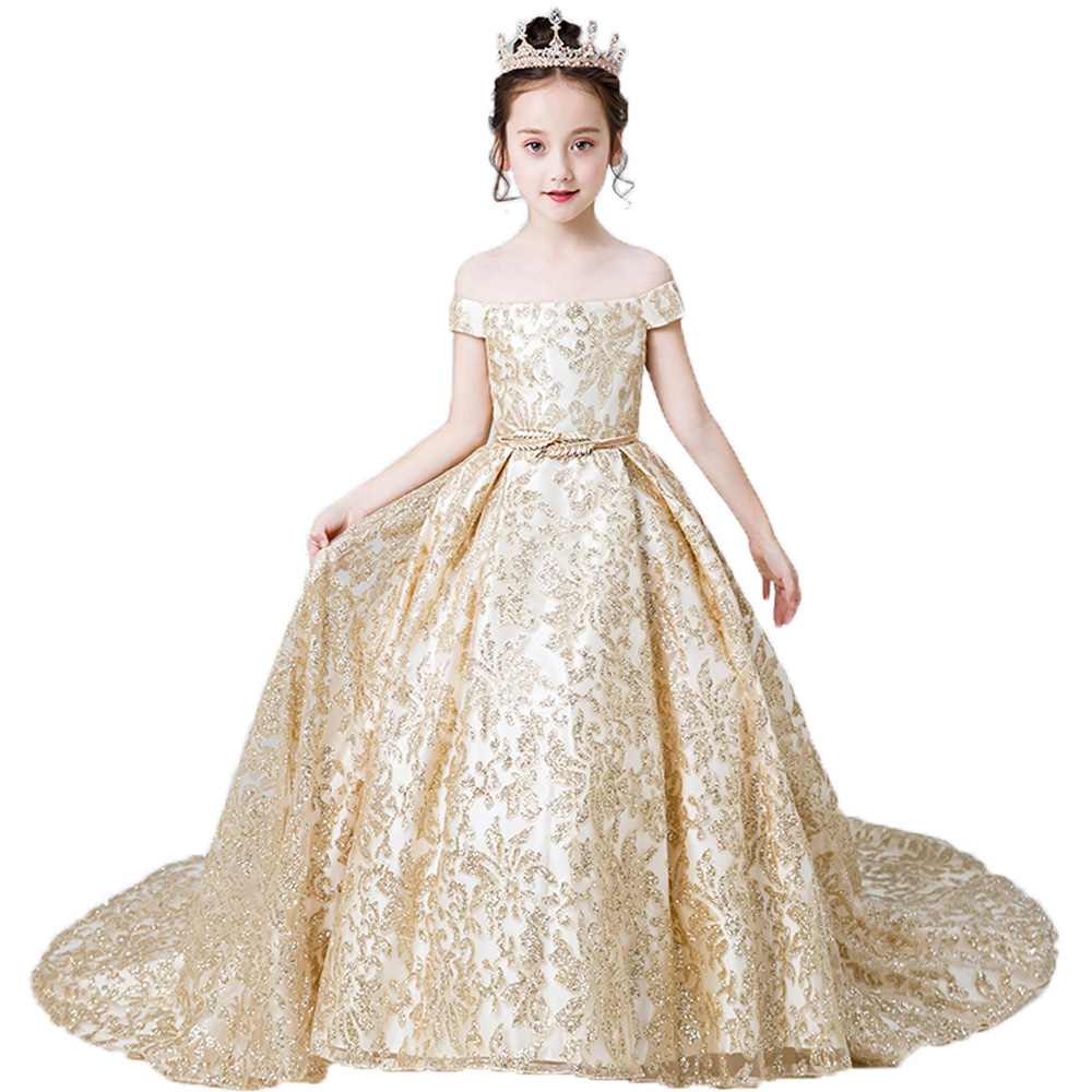 Gold Pageant Party   Dress   for   Girls   Christmas   Dress   Luxury Long Kids Evening Ball Gowns Lace 2019   Flower     Girl     Dresses   with Train