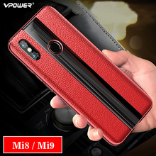 For Xiaomi Mi9 Se Mi8 Lite Leather Case Vpower Genuine Plating Frame Cases Mi 9 8 Covers