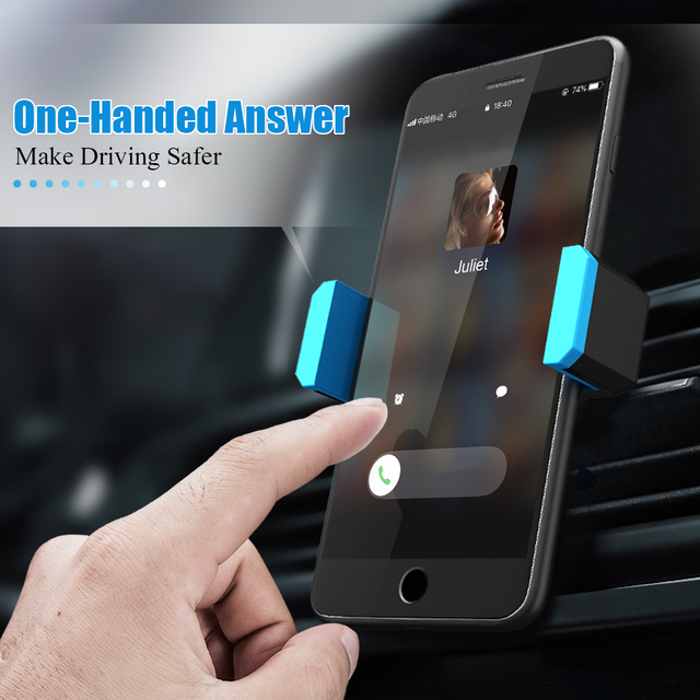 Hisomone Universal Car Phone Holder Stand Air Vent Mount Holder 360 Degreen For Phone Support 4-6 inch Holder Stand in Car 1