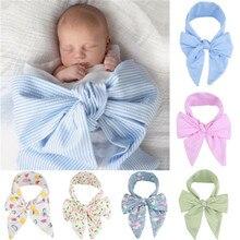 Реквизит в полоску для новорожденных девочек и мальчиков, украшенный бантом, костюм для фотосъемки мальчиков и девочек с цветочным принтом