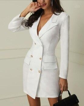 Spring Suit Blazer Women 2019 New Casual Double Breasted Pocket Women Long Dress Jacket Elegant Long Sleeve Blazer Outerwear 1