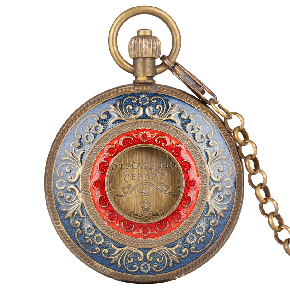 Купить с кэшбэком Vintage Luxury Mechanical Pocket Watch Double Hunters Automatic Hand Winding Pure Copper Pendant Clock Antique Clock Gifts Men