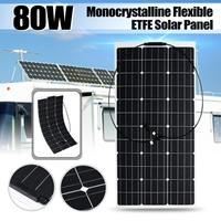 18V 80W Semi Flexible Solar Panel Solar Charger For 12V Car Battery ETFE Monocrystalline Cells For Hause,boat,roof