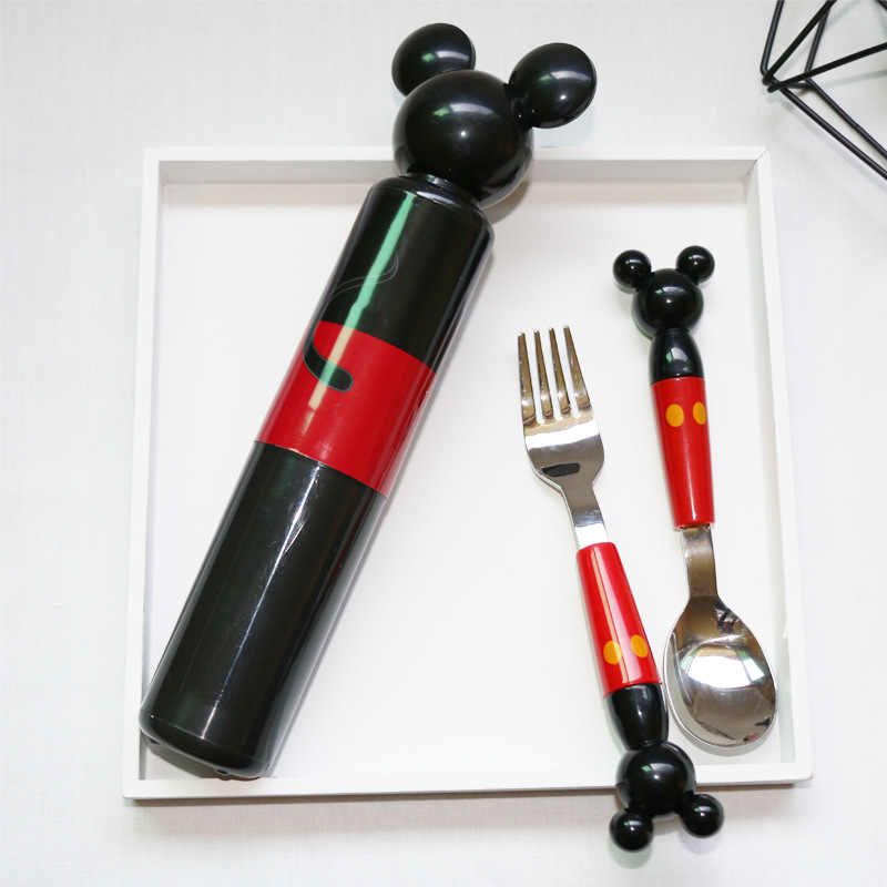 Portable Stereo Mickey Head Stainless Steel Fork Spoon with Baby Boxed Set for Tableware Consisting Training Fork Spoon Set DA
