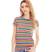 Rainbow T Shirt for Women Colorful Stripe Tshirt Crew Neck Top Tees Woman Short Sleeve Striped