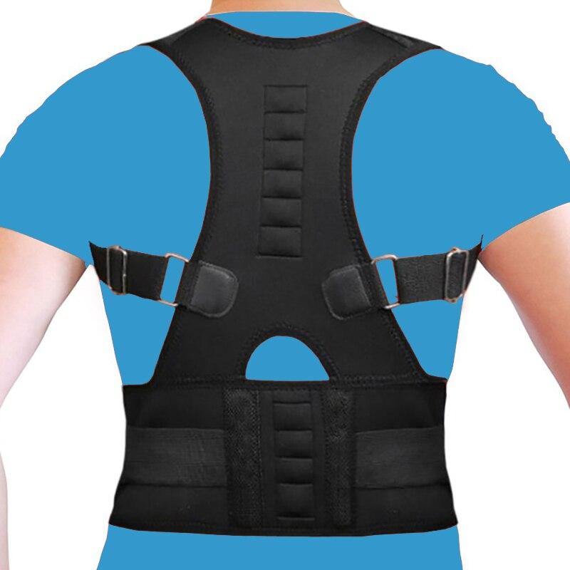 Magnetic Posture Corrector Men Back Corset Back Support Belt Orthopedic Back Straightener Belt Neoprene Vest Black White B002