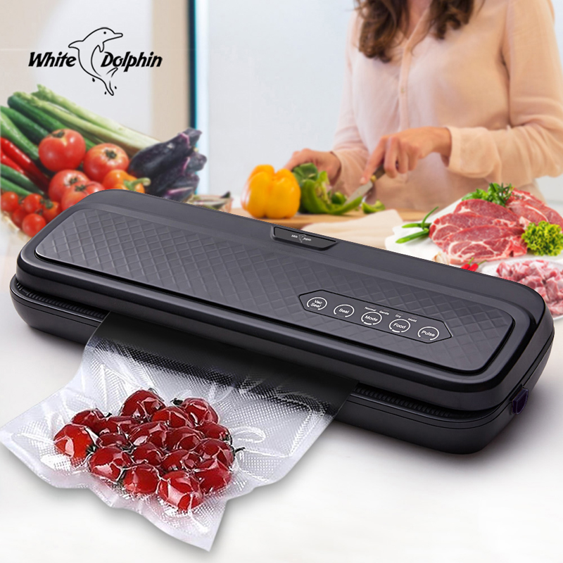 White Dolphin Food Vacuum Sealer Machine 220V 110V For Food Saver With 10PCS Bags Home Electric
