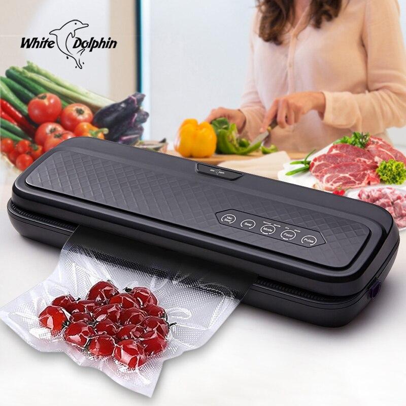 Weiß Dolphin Lebensmittel Vakuum Versiegelung Maschine 220 v 110 v Für Lebensmittel Schoner Mit 10 stücke Taschen Hause Elektrische Vakuum sealer Verpackung Maschine