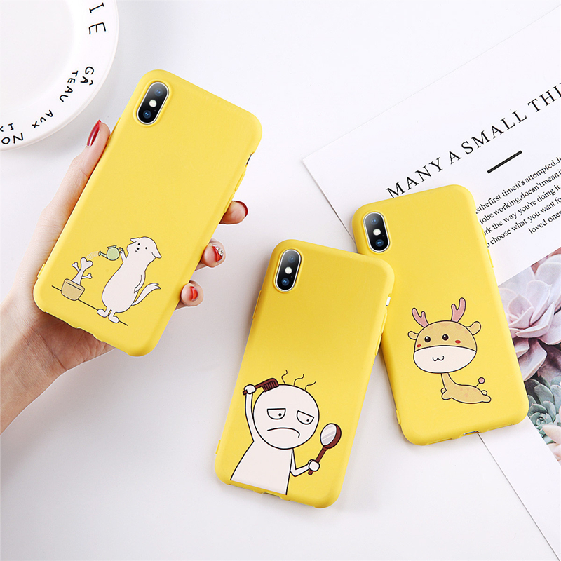 Cute Cartoon Animal Plants Soft TPU Silicon Cover For iPhone 7 Cases Watering Flowers For iPhone 6 6s 8 Plus 5s SE XR XS Max in Fitted Cases from Cellphones Telecommunications