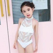 New Girls Lace Swimwear Kids Bathing Suits Girls One Piece Hanging neck swimsuit 2019 Kids Siamese Lace Triangular Swimwear