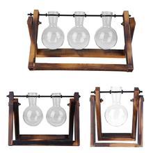 Стеклянная и деревянная ваза для растений, настольный стол для террариума, гидропоника, бонсай, цветочный горшок, подвесные горшки с деревянным поддоном, домашний декор
