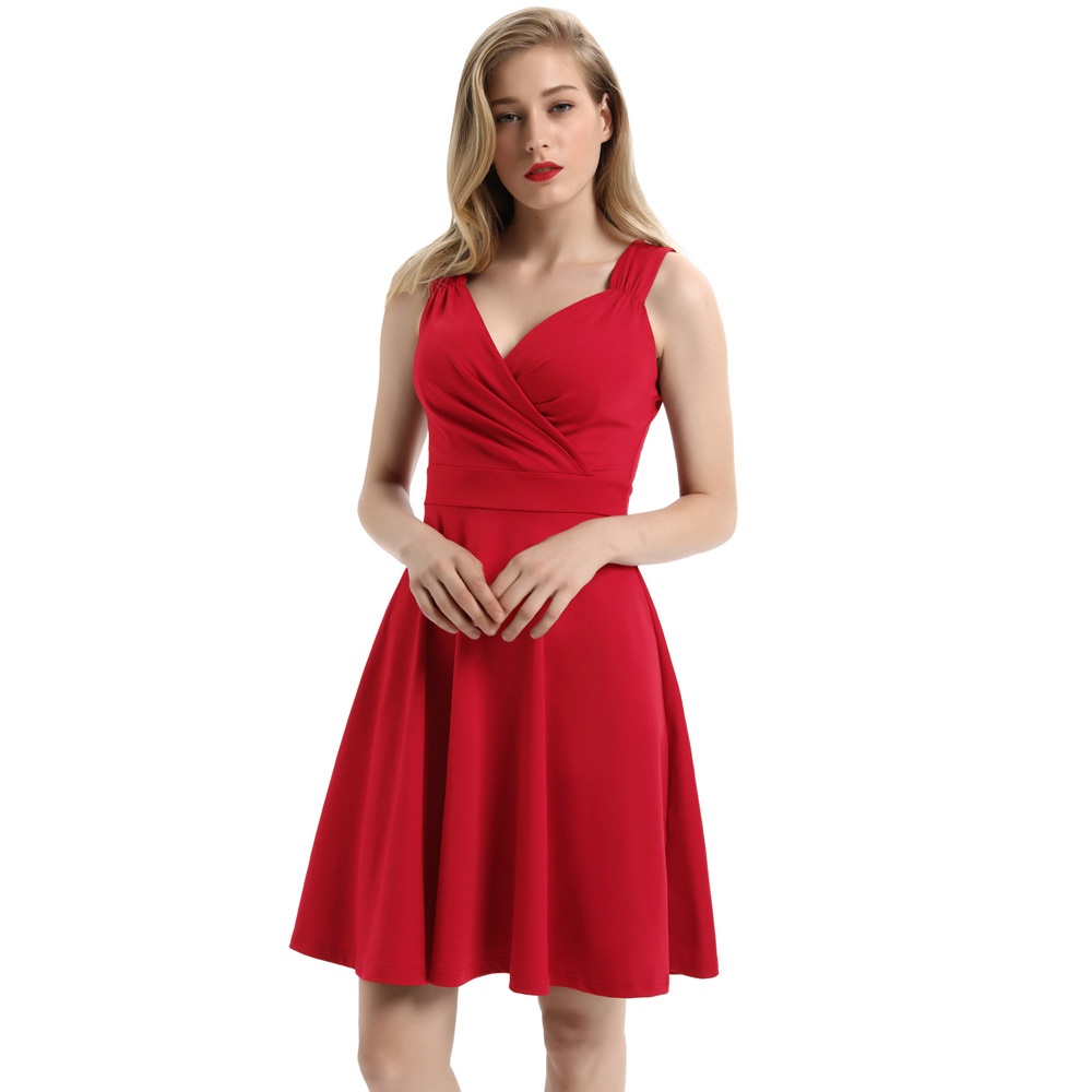 GK Women's Red Dress Summer Solid Color Sleeveless Sexy V-Neck Formal Evening Party Flared A-Line Dresses Black White Vestidos