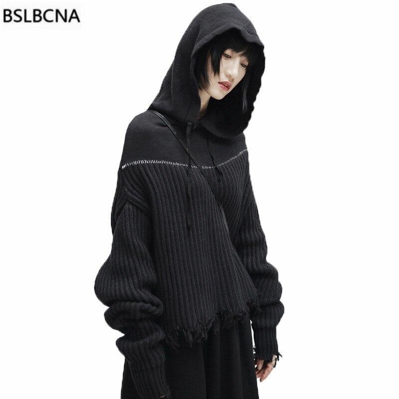 À Pull 2018 Vintage Vêtements Femmes Occasionnel Manches Épais Lâche Knite Hiver Automne A560 Noir Tops Empilés Black Chapeau Capuche Chandail nXq6XTwxr
