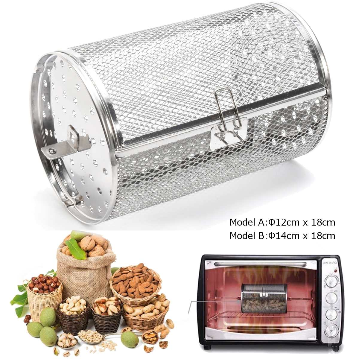 Stainless Steel Storage Basket Peanut Coffee Beans Oven Roaster Grilled Cage BBQ Grill Rotisserie Drum 14*18cm/12*18cm Kitchen(China)
