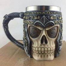 3D Skull Mug Beer/Tea/Coffee Mug Retro/Metal Creative Gift Travel Cups And Mugs Stainless Steel Skull Mug Viking Ram Horned