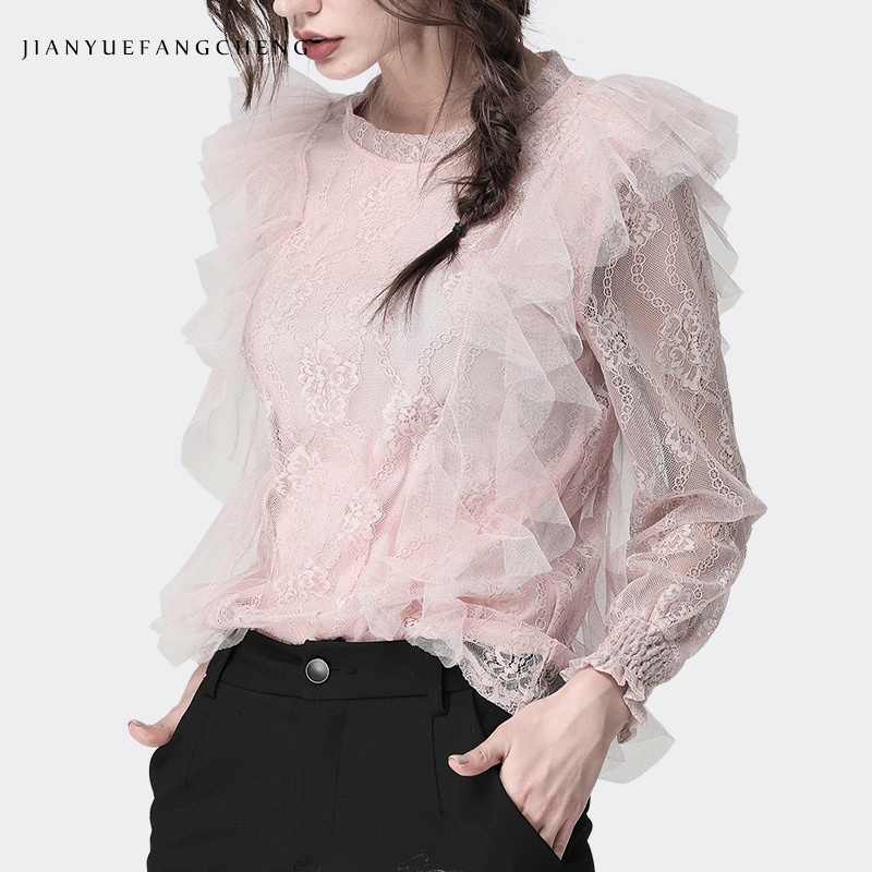 Dentelle chemise 3D volants rose maille Blouse pour femmes col rond manches longues évider Floral Top 2019 nouvelle femme coréenne vêtements