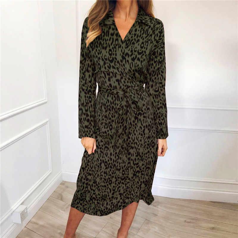 DEAT 2019, новинка, Стильное женское платье с леопардовым узором, сексуальное, с длинным рукавом, шифоновое, Пляжное, для вечеринки, платья, одежда, Robe Femme Longue NA771