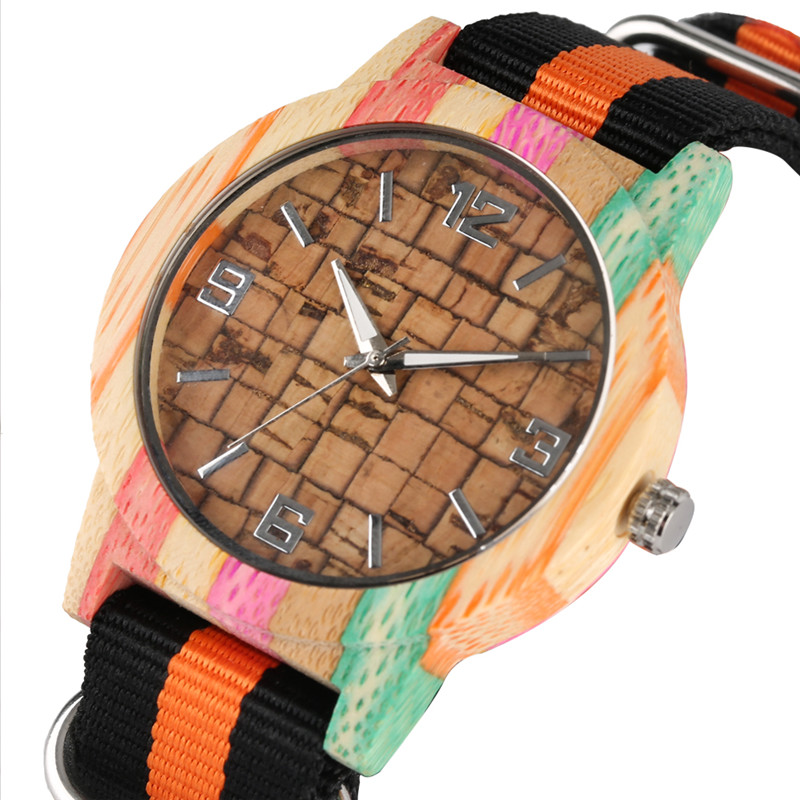 Handmade Quartz Watch Movement For Women Men Casual Wooden Watch Fluorescent Pointer Super Lightweight Nylon Band Colck