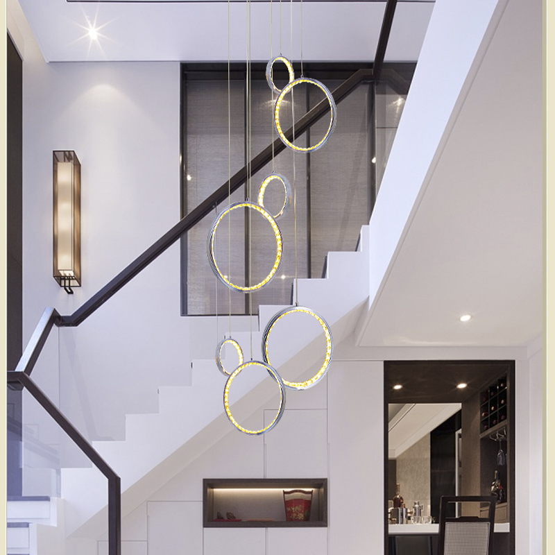 Modern led crystal pendent light with 3 circle ring suspended pendent lamp foyer hanging lamps Dinning