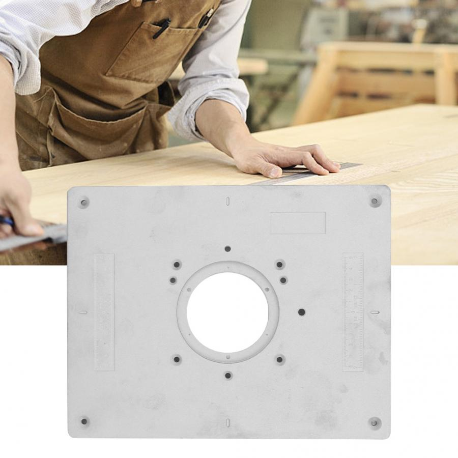 1 Set Aluminum Alloy Router Table Insert Plate with Rings and Screws for Woodworking for DIY
