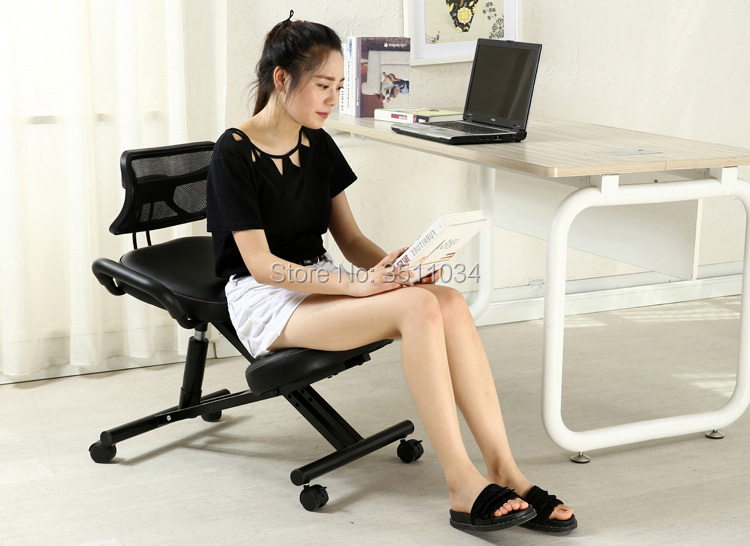 Ergonomically Designed Knee Chair Leather Black Chair With Caster With Back And Handle Office Kneeling Chair Ergonomic Posture