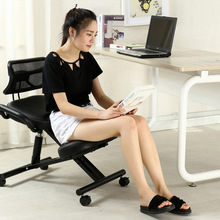 Silla para rodillas de cuero con diseño ergonómico, silla negra con ruedas con espalda y ASA, silla de oficina para arrodillarse, postura ergonómica