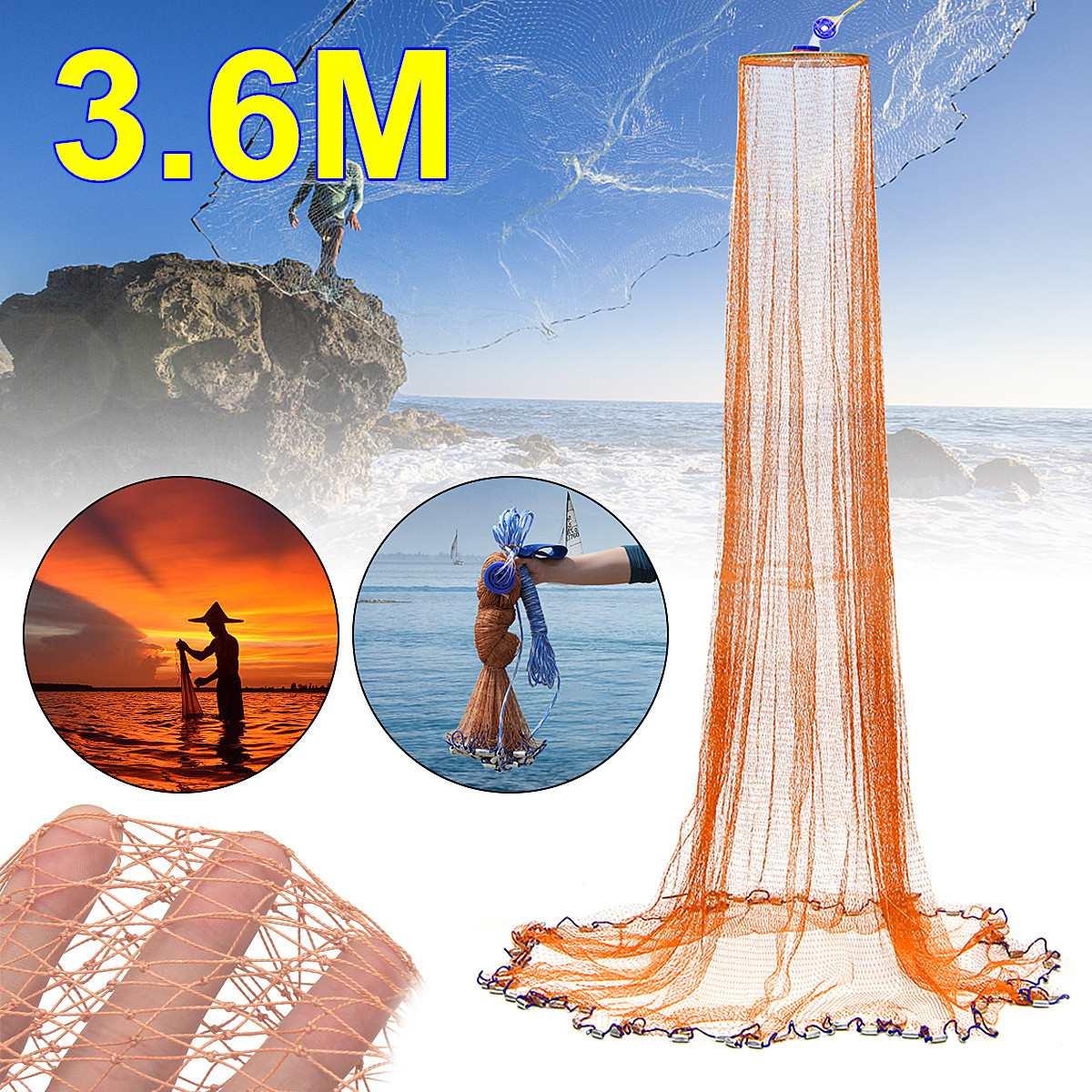 3.6 M 6FT en Nylon marron Gadgets de pêche poisson Net pêche appâts pliables piège fonte trempette crabe crevettes