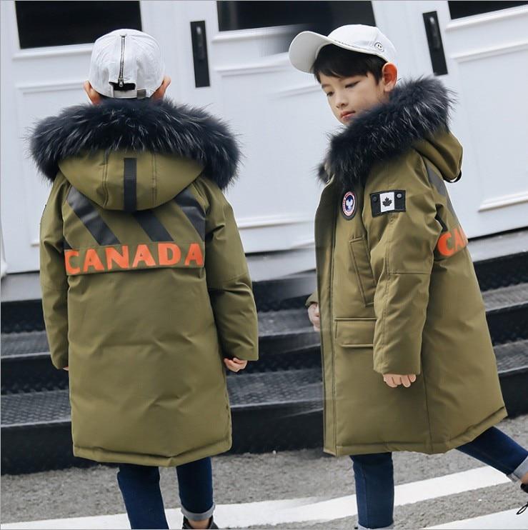 Children boy winter jacket real fur hooded long coat parka kids big school 8 10 14 teens boy 30 Russia winter clothing overcoat