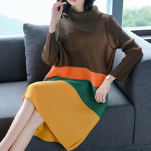 LANRMEM 2020 Spring Summer Fashion New Pleated Clothes For Women Long Sleeve Turtleneck Elastic Contrast Color Dresses YH295
