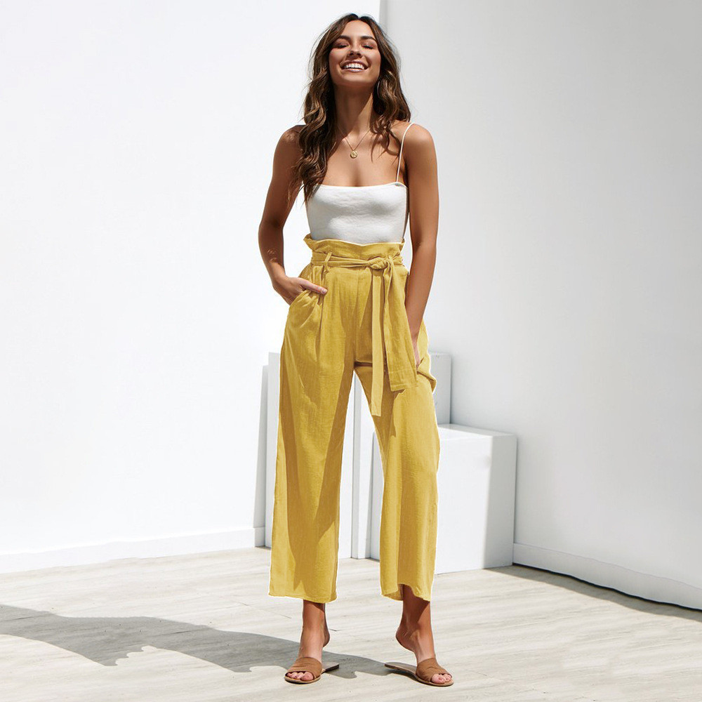 Solid Four-Color Straps Sashes Wide Leg Pants Spring Summer Casual High Waist Trousers Price $20.67