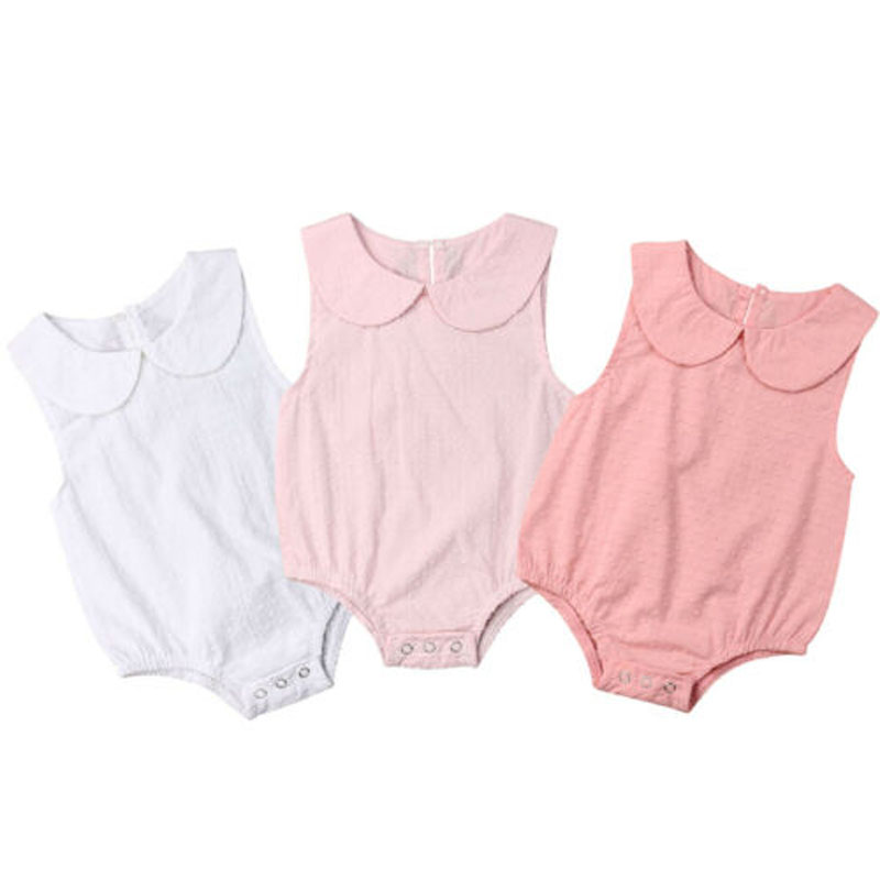 Focusnorm Newborn Baby Girls Summer Sleeveless   Romper   Solid Cotton Jumpsuit Covered Button Playsuit Outfits Sunsuit