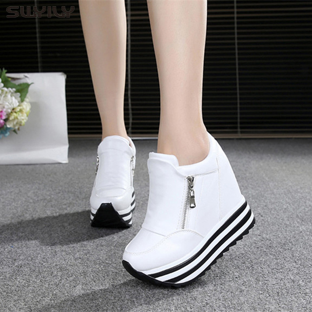 SWYIVY 11cm Wedge Shoes For Woman Sneakers White Shoes 2019 Spring/Autumn New Fashion Womens Footwear Ladies Casual Shoes Black