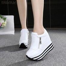 Swyivy 11cm cunha sapatos para mulher tênis branco sapatos 2019 primavera/outono nova moda calçados femininos senhoras sapatos casuais preto