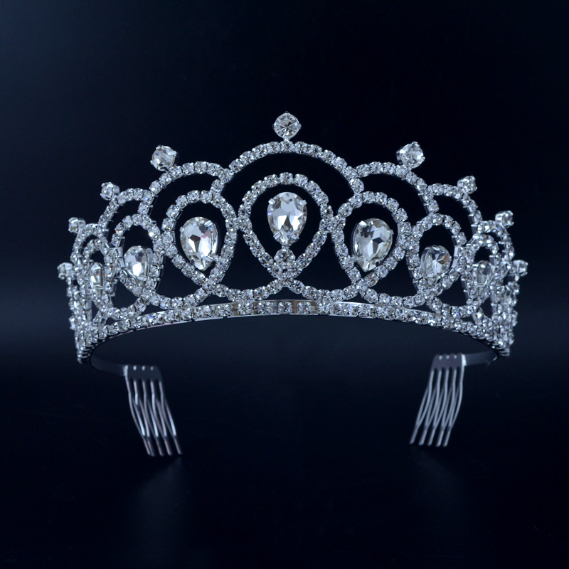 Australian Rhinestone Crystal Tiara For Women Bridal Wedding Hair Accessories Fashion Jewelry Hairwear Beauty Pageant Crowns