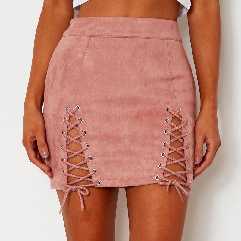 2018 Women  Suede Pencil Black Mini Skirt 2018 Summer High Waist Short Bodycon Lace Up Skirts Sexy Split Skirts