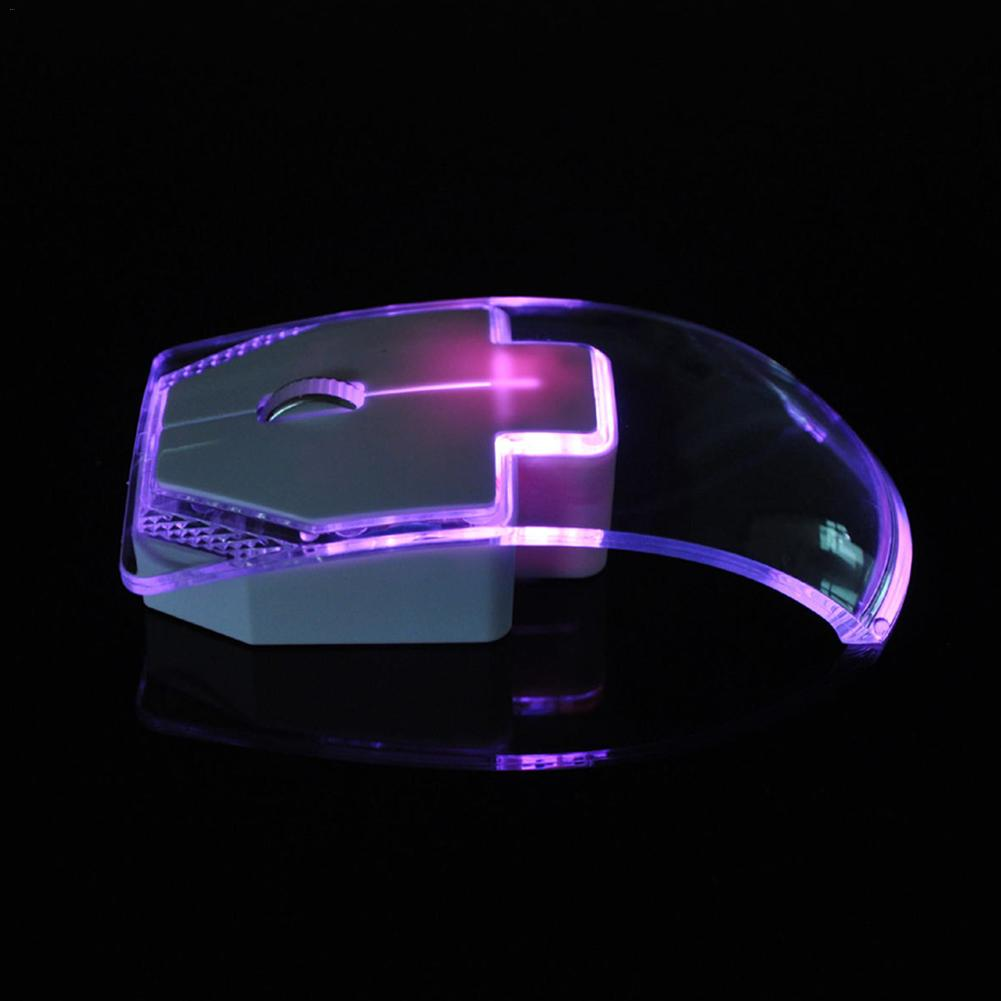 1.3m Transparent Mouse for Laptop Desktop Silent Gamer Colorful LED Power Saving Glow