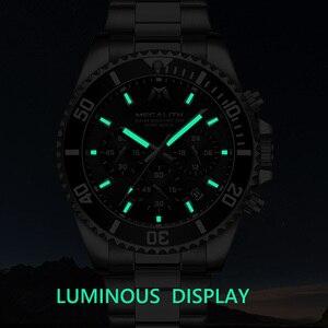 Image 3 - MEGALITH Reloj de lujo para hombre, cronógrafo de cuarzo analógico, resistente al agua, con fecha de 24 horas, de acero inoxidable