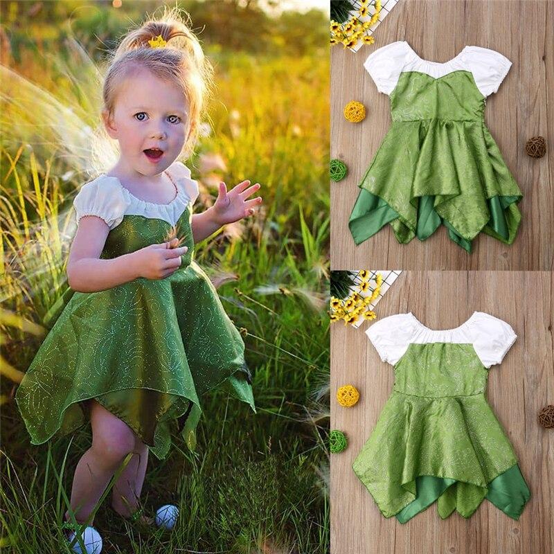 Fairy Dress Girls Princess Party Birthday Dress Baby Girl Clothes Short Sleeve Summer Dress Kids Shiny Stage Tinkerbell Vestidos