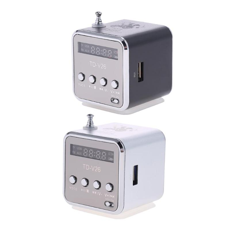 TD-V26 Mini Radio FM Digital Portable Speakers with FM Radio Receiver Support SD/TF Card for Mp3 Music Player USB Charging