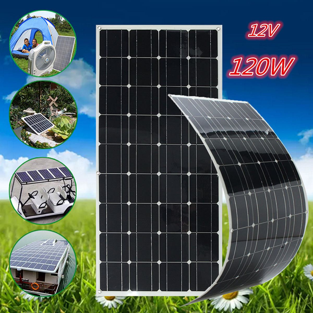 120 W 12 V monocristallin Semi Flexible panneau solaire chargeur de batterie 1.5 m câble solaire cellule bricolage Module pour voiture batterie Sunpower
