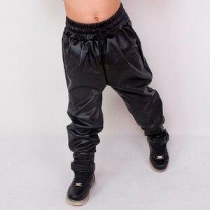 Image 3 - Heroprose แฟชั่นเสื้อผ้าเด็กเสื้อผ้าเด็กผู้ใหญ่ hip hop baggy harem กางเกง PU หนัง Faux ด้านหน้าจีบเต้นรำกางเกงผอม