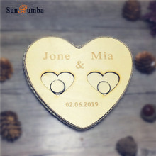 1pcs Personalized Custom Wooden Ring Pillow Holder Rustic Wedding Decor Vintage Party Engagement Decoration Pillows Bearer